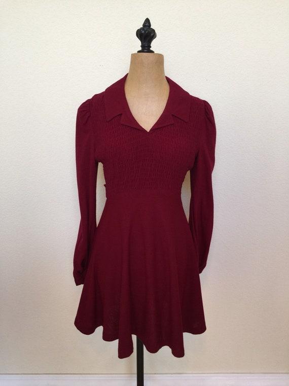 Vintage 1970s Dress Maroon Jody T of CA
