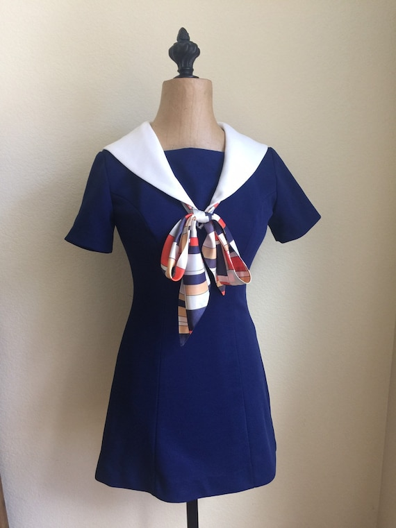 Vintage 1960s Mini Dress Sailor Style Navy and Whi