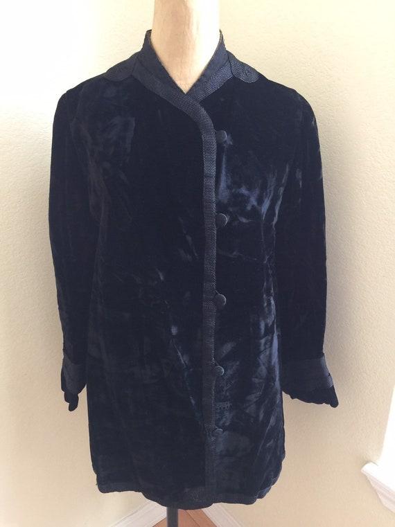 Vintage Velvet Coat Black 1940s Fitted M J Steinbe