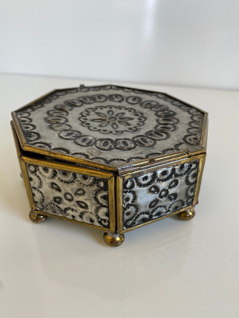 Vintage Brass and Punched Tin Trinket Box Mexico 1970s