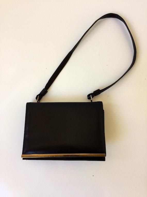 Vintage Leather Handbag Small Pappagallo 1980s
