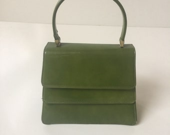 Vintage Patent Leather Handbag Purse Lime Green 1960s