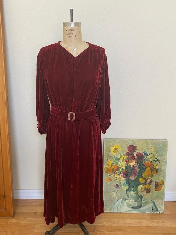 Vintage 1930s Red Silk Velvet Dress Midi Length