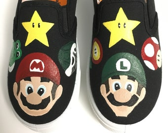 291651b86a7 Super Mario Bros Mario Luigi and friends custom painted shoes. Made to  Order.