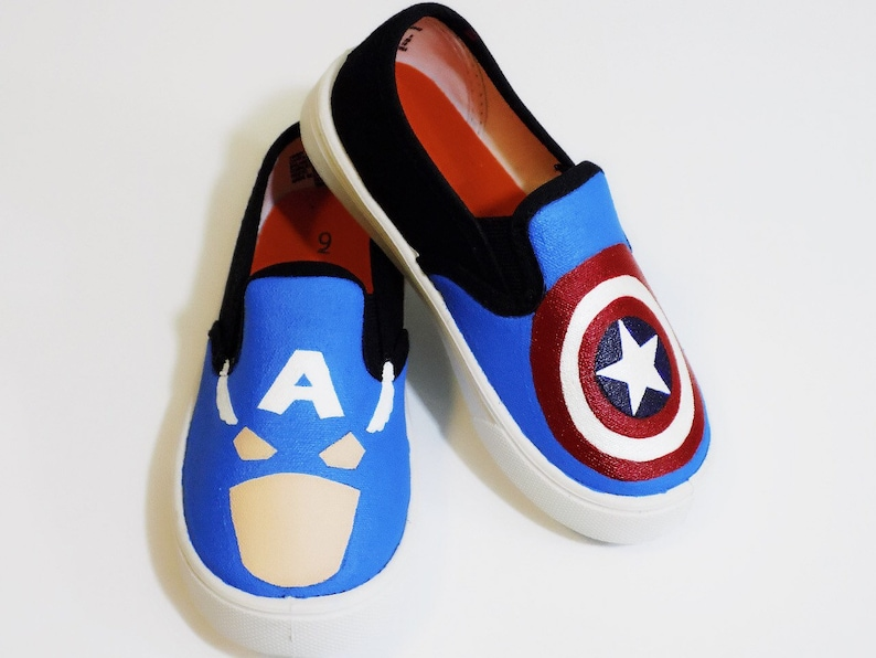 2503fe59e6478 Captain America custom painted shoes. Made to Order. Hand Painted