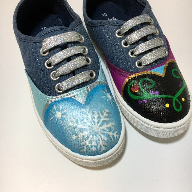 dcc399b9d6740 Frozen shoes Custom Hand Painted Elsa and Anna shoes made to order