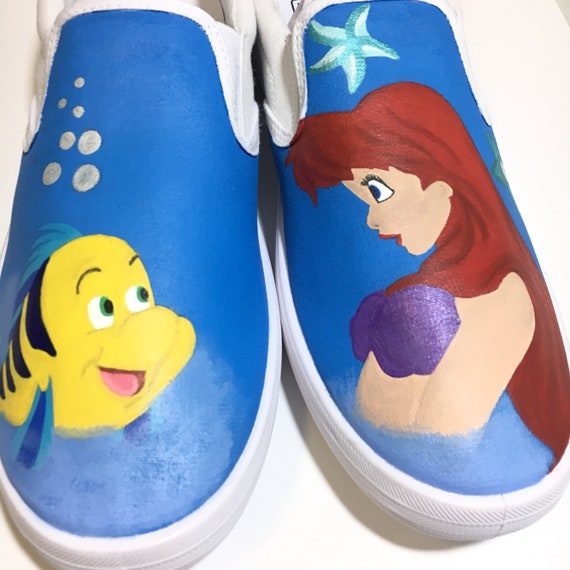 e7714fd6fac28 Little Mermaid shoes Custom Hand Painted Ariel and Flounder Shoes made to  order