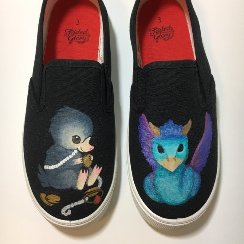 2f7cd5c35d5c9 Fantastic Beasts shoes Custom Hand Painted Niffler and Occamy shoes made to  order