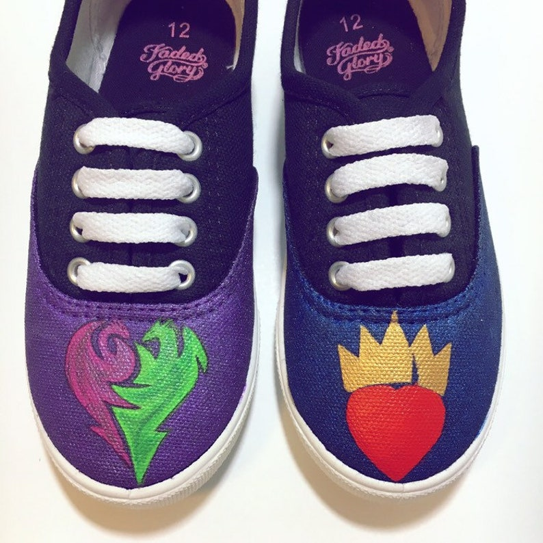 2d08cb2d35a8c Descendants custom painted shoes. Mal & Evie character shoes. Made to  Order. Hand Painted