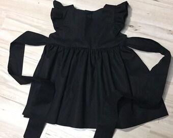 dae915833 Black flutter sleeve girl dress, toddler flutter sleeves dress, baby girl  flutter sleeve dress, girls little black dress