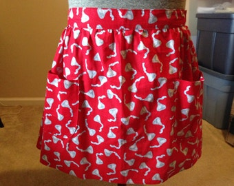 Ladies Kisses Half Apron  with two pockets, Red half apron, sale
