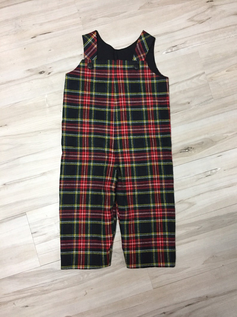 b07b8a753 Boy overalls black and Red Plaid longalls Highlander flannel