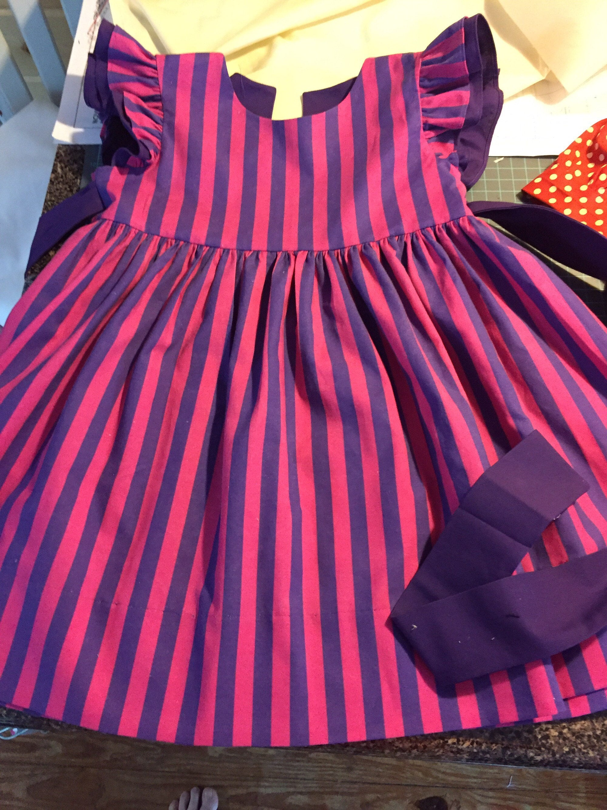 Toddler Dress Girl Pink And Purple Striped Dress Baby Girl Etsy