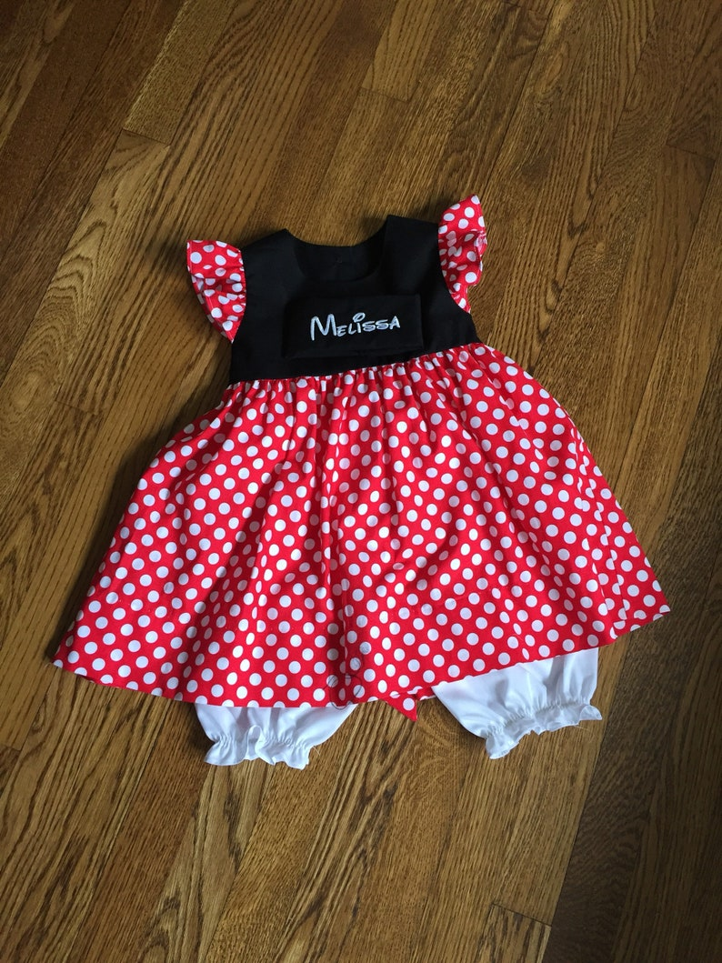 7d53a37bb3f Minnie dress Monogrammed Red polka dot flutter sleeve girl
