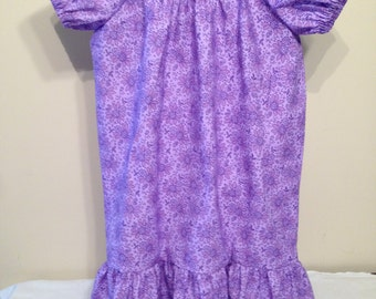Purple Peasant Dress size 5, floral handmade dress, short sleeve peasant dress, Sale