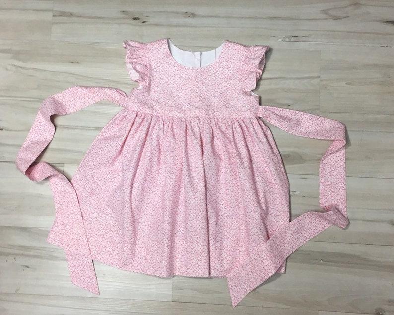 4a5bb953a899 Pink retro print flutter sleeve girl dress pink floral | Etsy