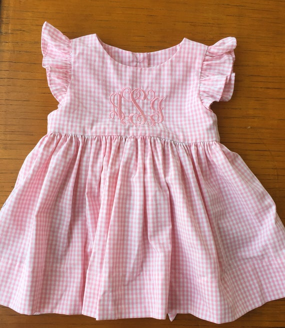 780f01a77 Monogrammed Pink gingham flutter sleeve girl dress baby girl
