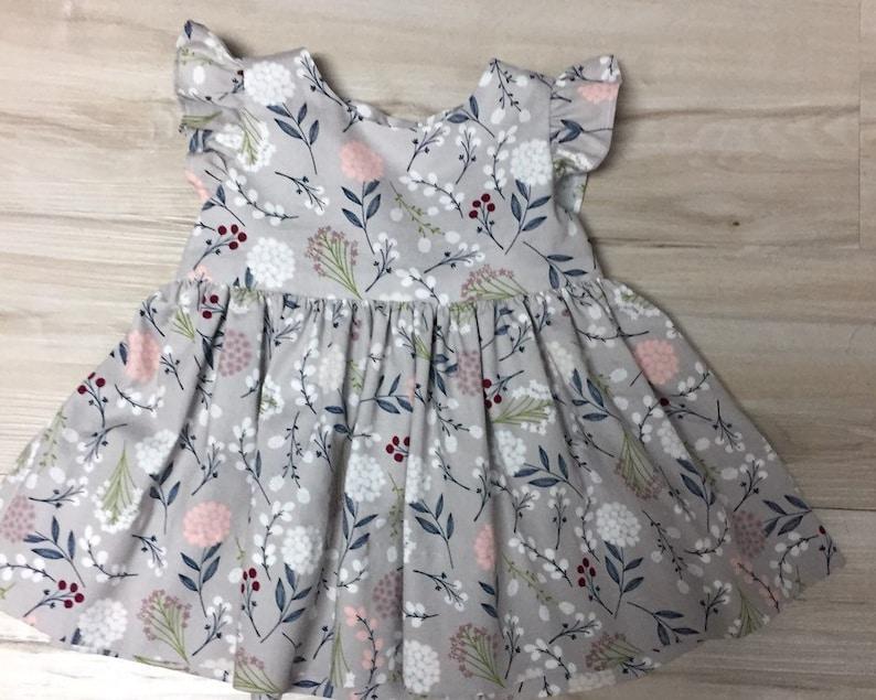 51b8bacc08ac Gray Dress flutter sleeve girl dress Gray Infant floral   Etsy