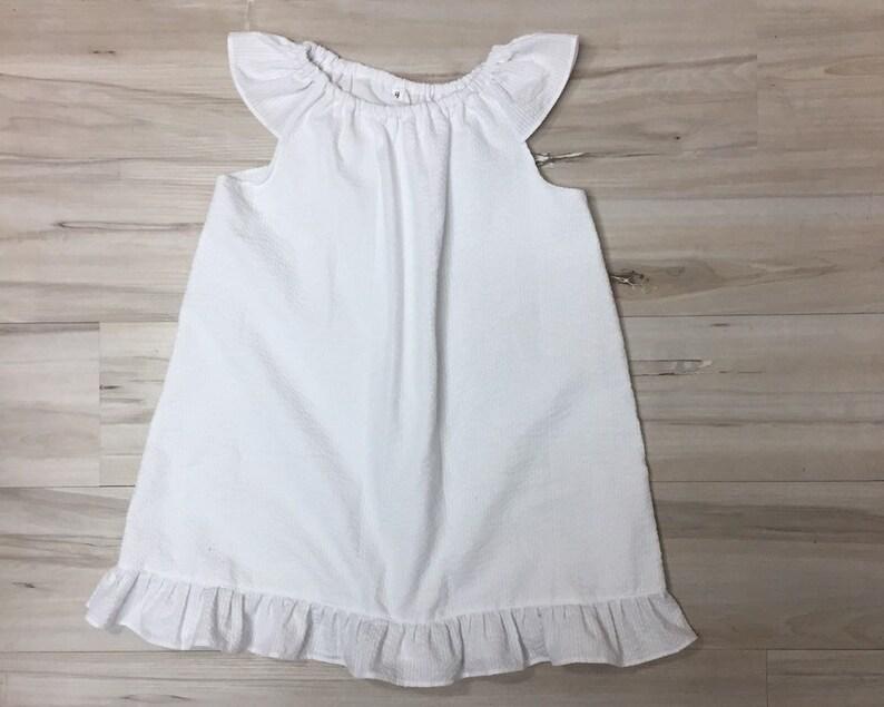 beach. sundress White seersucker Dress Toddler girls seersucker sleeve dress flutter sleeve dress,size 4 Peasant flutter sleeve dress