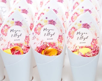 Wedding confetti Fleur Floral personalised Confetti cones Pack of 5