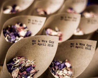 Wedding confetti Mr & Mrs Confetti cones Pack of 10 with 1 litre of biodegradable larkspur petals