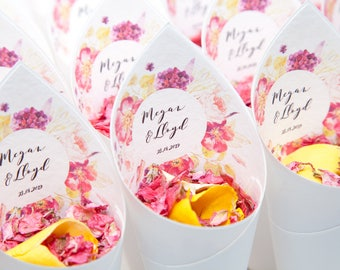 Wedding confetti package,  10 Fleur Floral personalised Confetti cones with 1 litre of natural petals