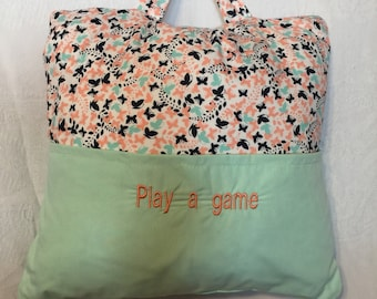 Bedtime/Travel Pillow  Butterfly Holds a book in one pocket/and IPad or travel game in the other pocket