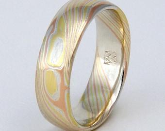 Custom Mokume Gane Ring 14k rose gold, 18k yellow gold and silver ring - woodgrain pattern