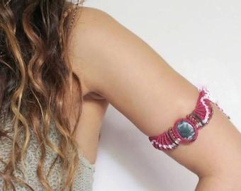 Boho Arm Cuff, Hippie Macrame Tiara, Bohemian Gemstone Necklace, Moss Agate Crystal Choker Festival Headpiece, Elvan Crown Statement Jewelry