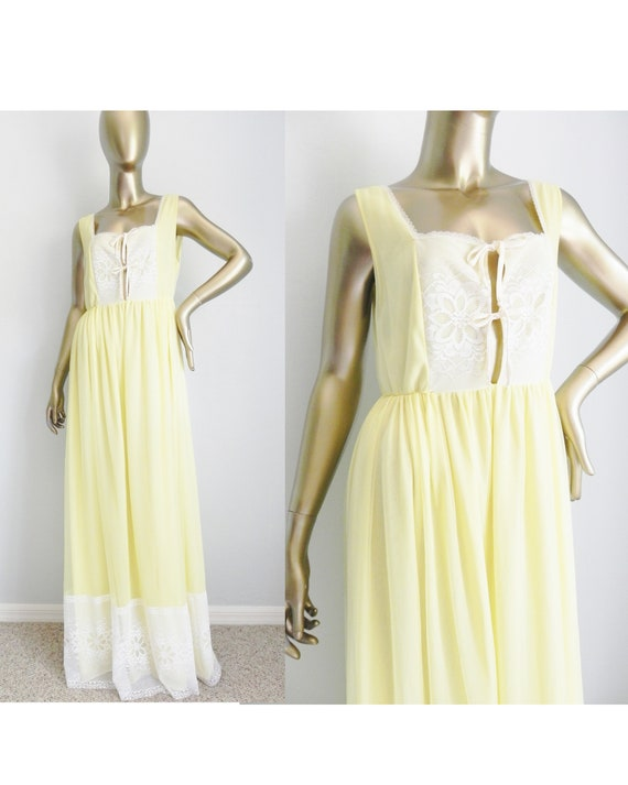 vintage long yellow nightgown \ lace nightie \ ele