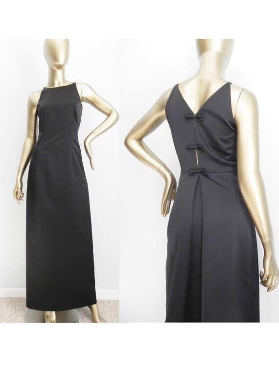 vintage black satin column gown \ peep back formal