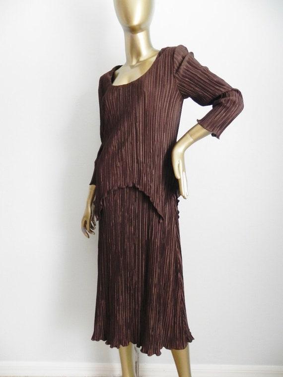 vintage brown micro pleated dress \ pleated sheath