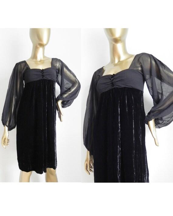 vintage black velvet dress \ chiffon bodice and po