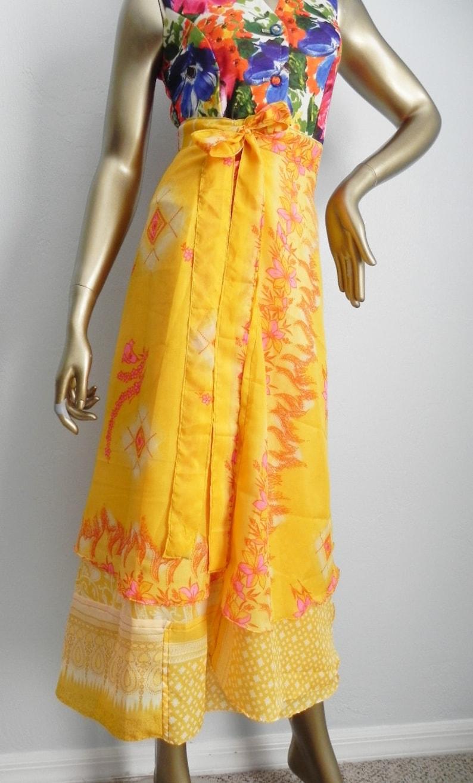 vintage bright yellow wrap skirt \\ long floral skirt \\ boho wrap around skirt