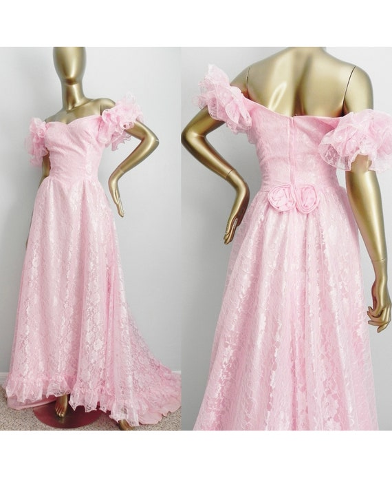 vintage pink ballgown with train  lace evening gown  flouncy ruffle sleeve floor length dress