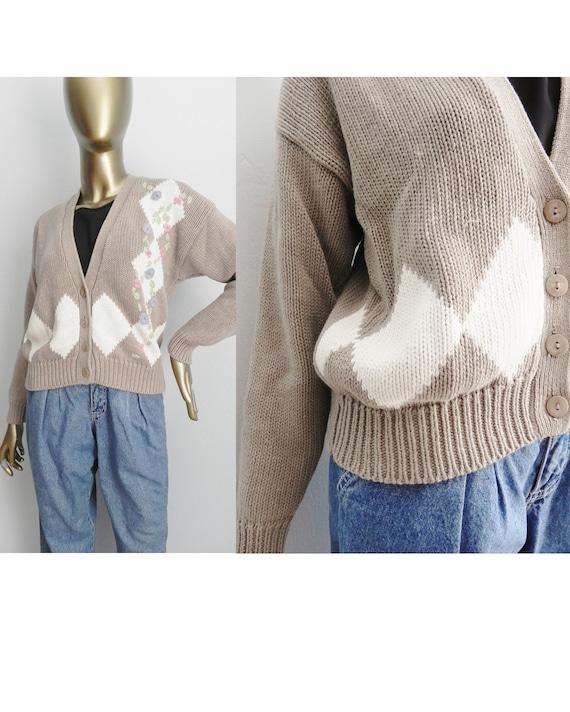 vintage beige argyle cardigan \ tan knit sweater \