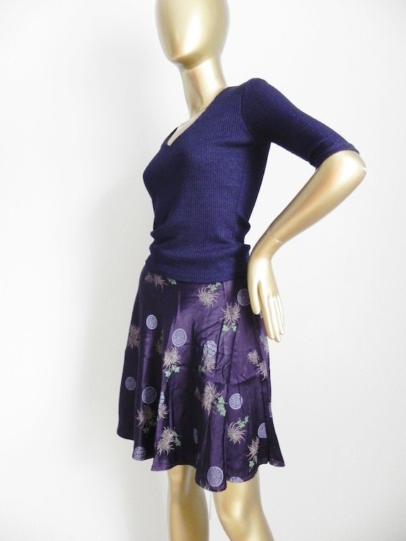 vintage purple satin skater skirt \ Asian style pr