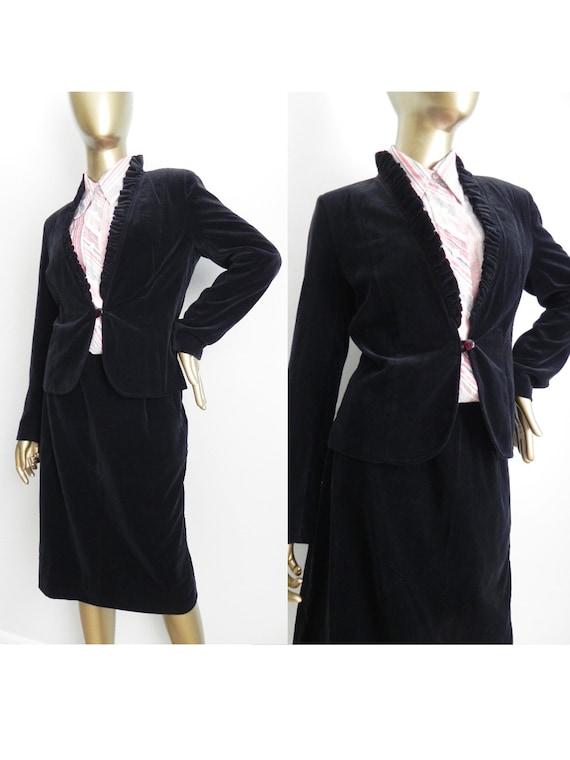 vintage black velvet skirt suit \ skirt and jacket