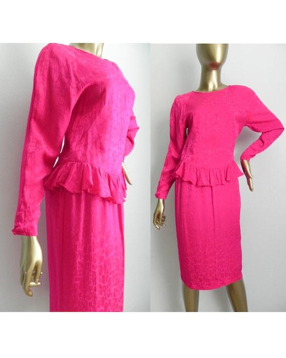 vintage fuchsia silk jacquard dress \ pink peplum