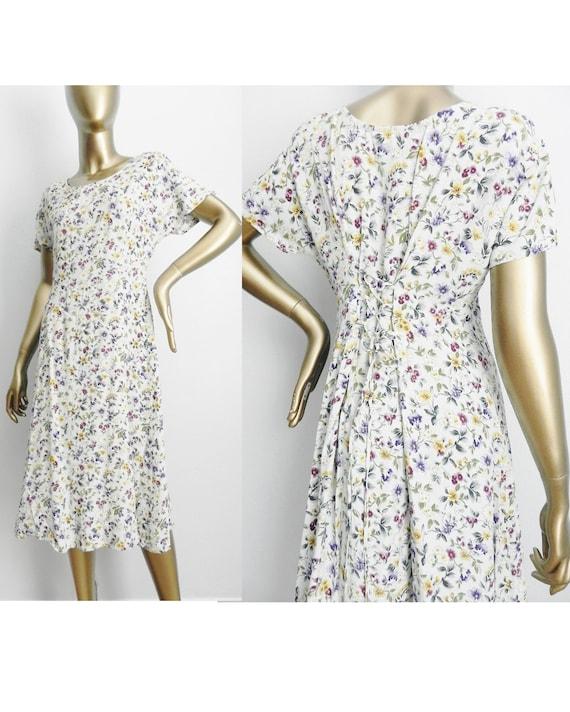 vintage light blue floral midi dress \ loose sheat
