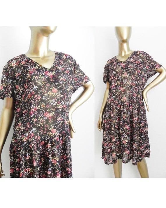 vintage floral semi-sheer dress \ flower mini dres