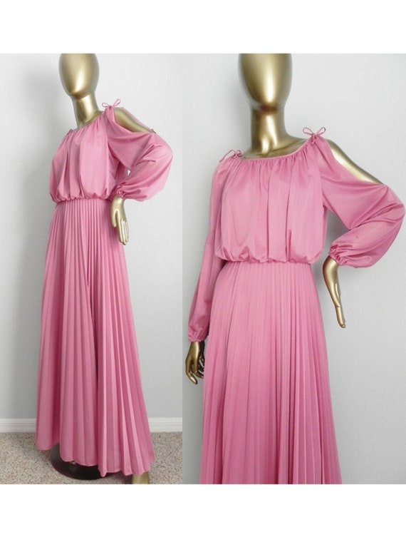 vintage dusty rose pleated gown \ cold shoulder po