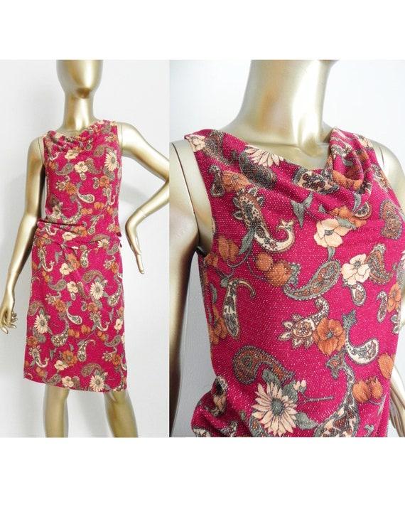 vintage red floral top and skirt set \ sparkling s