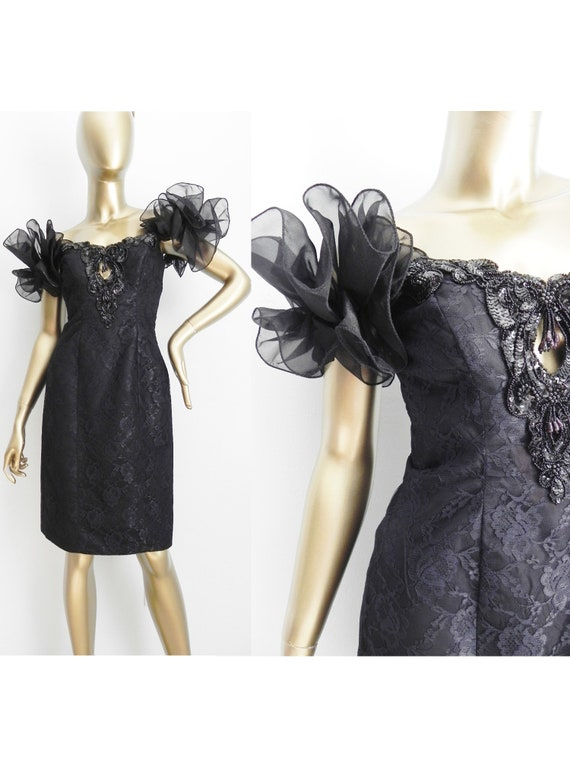 vintage black lace party dress \ big puffy ruffle