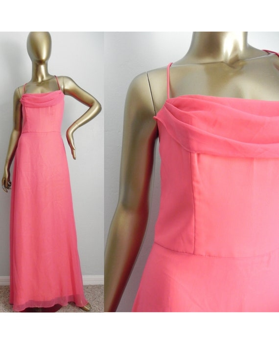 vintage pink chiffon draped gown \ coral sheath dr