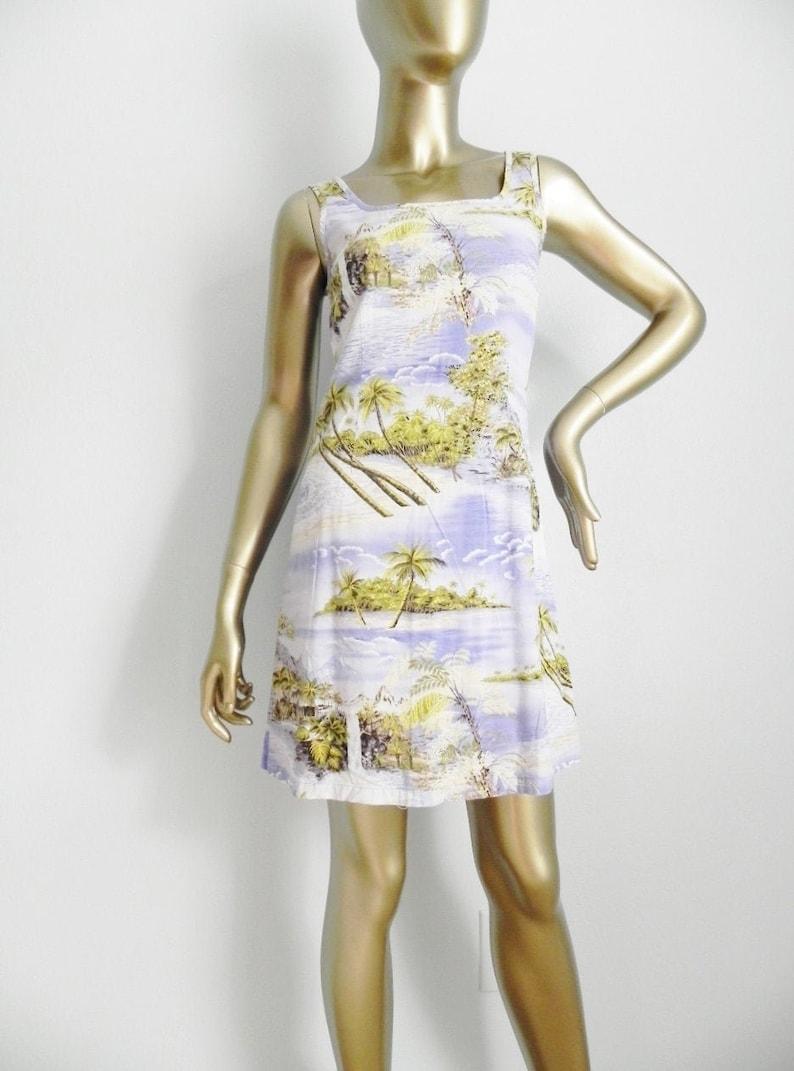 vintage Hawaiian print mini dress \\ beach dress \\ landscape print shift