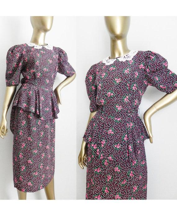 vintage floral peplum dress \ lace collar \ 80's d