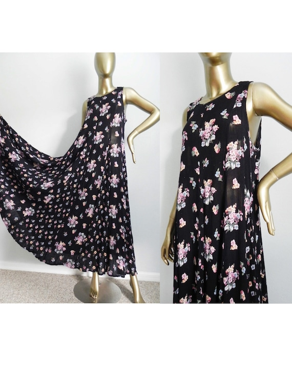 vintage black floral tent dress \ long maxi dress