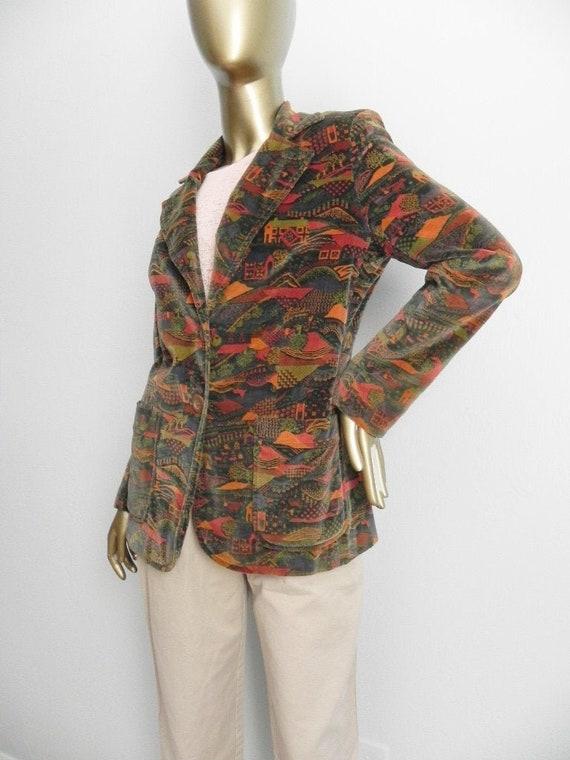 vintage farm landscape blazer \ velvet jacket \ br