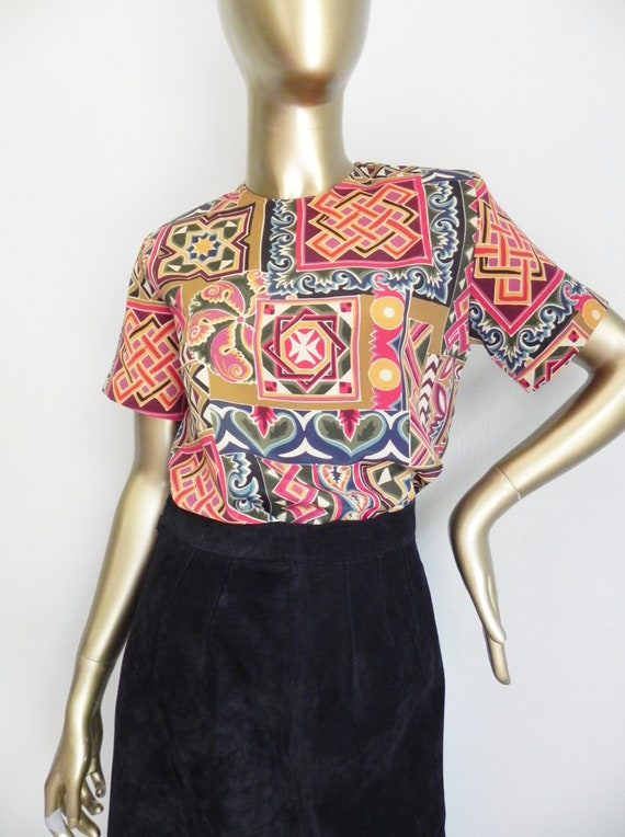 vintage geometric print blouse \ loose top \ boxy